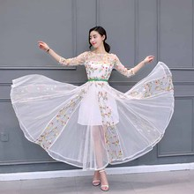 Summer Fashion Embroidery Classical Black Floral Dress Women White Mesh Long Vestido with Sashes Big Pendulum Maxi Dresses 1E53A
