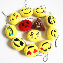 Facoty Wholesale 100pcs/Lot 5cm Emoji Small Plush Pendant Smiley Emoticon Soft Plush Toys Key&Bag Chain Phone Strap
