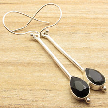Silver Plated Over Solid Copper ! stud BLACK ONYX Stone Earrings