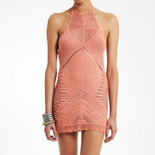 Yomay pink Handmade crochet beach dress ladies casual knitted halter sleeveless backless sexy hot lace summer dresses