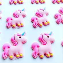NEW 100pcs/lot Cute unicorn flatback DIY hair bow accessories shower decoration Center Crafts(China)