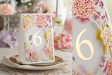 Laser Cut Pink Color Flower design Wedding Table Place Card With Table Numbers