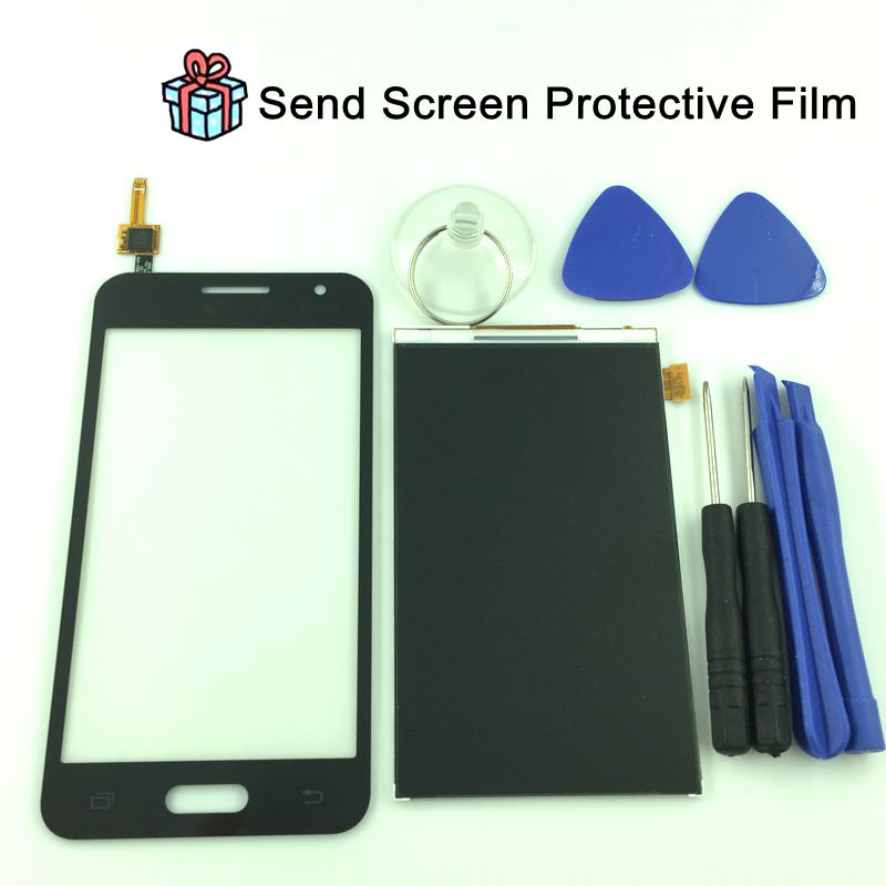 For Samsung Galaxy Core 2 G355 G355H G3559 Black White Touch Screen Panel Sensor Lens Glass + LCD Display Monitor 100% Test<br>