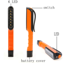 Creative 6+1 LED Mini Inspection Light Hand Lamp Pen Shape Size Pocket Clip Work Torch Flashlight