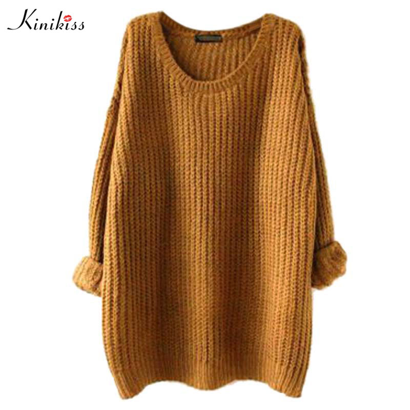 2017 Autumn Winter Fashion Pullover Women Sweater Long Sleeve Plus size Long Knitted Sweater Warm Women Sweaters And Pullovers(China)