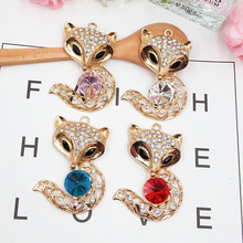 Dower Me Brand 1pcs 4 colors Charm fox style Phone Drilling Mobile Phone DIY Accessories Rhinestone Metal Mobile phone stickers(China)