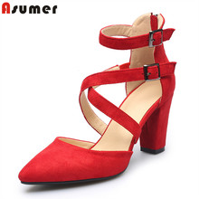 Asumer large size 34-43 Faux Suede women pumps high quality 9cm high heels bridal wedding shoes woman red black beige color