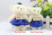 12 pieces New arrival diamond lovely teddy bear 12CM pp cotton kid toys plush doll hold flower small gifts wedding