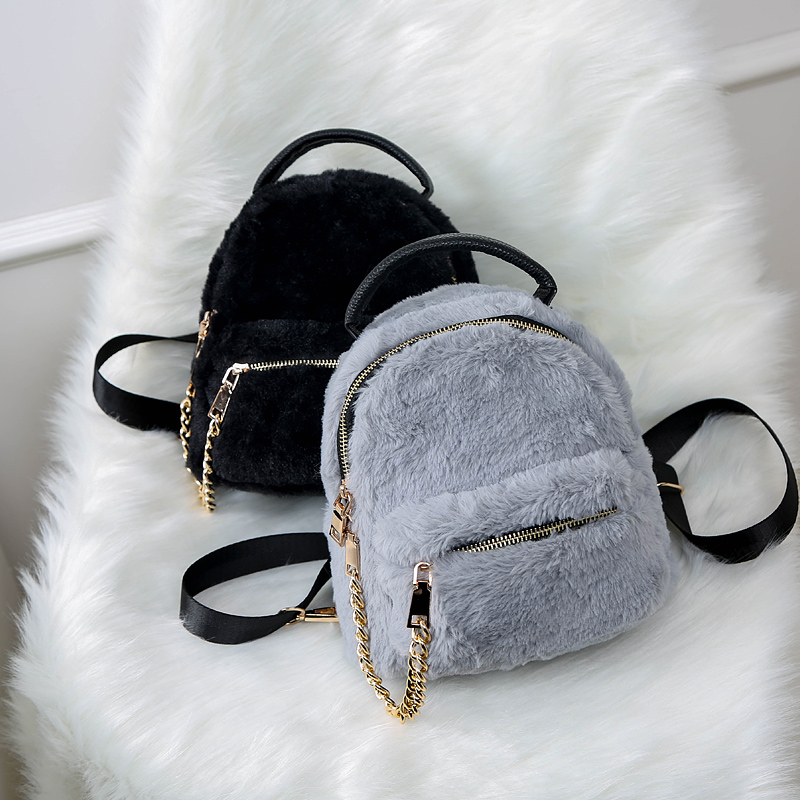 2018 new fashion plush backpack woman bag mini zipper shoulder bags ladies school bag 17*20*13cm back pack for teenager girls<br>