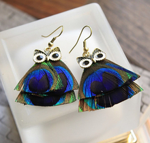 England National Wind Peacock Feathers Blue Owl  Model Diagram 2016 New Top Quality Jewelry Dangle Earrings