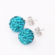 High Quality 10mm Hot Silver Round Crystal Ball Beads Jewelry Rhinestone Shamballa Earrings for Women AAA Zircon Female Jewellry(China)