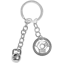 GYM Jewelry Personalized Kettle bell Weight Plate Key Chains Sports Fitness Stainless Steel Dumbbell Keychain Custom For Men