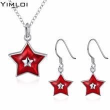 Christmas themed Star Pendant Necklace eardrop set suit accessories wholesaler 921(China)