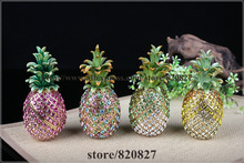 Big Enamel Jeweled Pineapple Trinket Box Pineapple Jewelry Pill Box with Hinge Magnetic Lid  Pineapple Rhinestones Gift