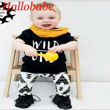 Newborn Baby Boy Clothing Set Toddler Boys Clothes Infant Boys Outfits Wild One Print T Shirt+Pants Summer Costumes WUA732602