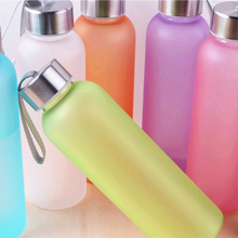 600ml Water Bottle Portable Leak-proof Sports Water Bottle Unbreakable Plastic Bottle with Cord Frosted Bottle Candy Color