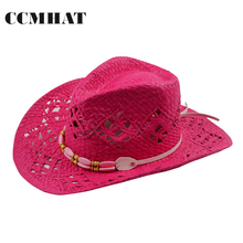 Women's Cowboy Hats Big Red Adult Straw Hats Summer Fashion Cowboy Hats For Women's Hollow Cowboy Hat Caps Clothing Accessories(China)