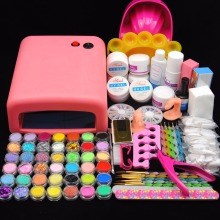 Nail Art Kits UV Gel Nail Lamp Dryer Primer Base Coat Glitter French Nail Tips Acrylic Powder Kit Manicure Nail Tools Set