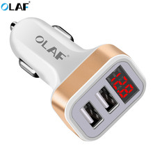 Olaf Car Charger Digital Display Dual Port USB Adapter 3.1A Car-charger Double USB for iPhone iPad Samsung Xiaomi Phone Charging
