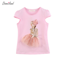 2017 Fashion summer brand Domeiland Children clothing kids Girl Clothes short Sleeve Girl tee Cotton Knit shirts
