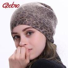 Geebro mujer Leopardo de Cachemira sombrero de invierno capa Casual Slouchy sombrero  para las mujeres solo tejido sombrero tapa 868658fbe37