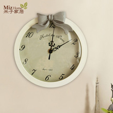 Miz Home Brown Vintage Style 21*21 cm Wall Hanging Clock Bow Knot Decor Clock reloj de pared