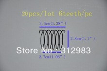 20pcs total 6 teeth 1.38*1.1*1.06 inch small wire spring comb wig comb clip snap for wig/hair weft/hair extension
