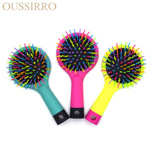 1 Piece Magic Hot Selling Rainbow Volume Anti-static Magic Hair Curl Straight Massage Comb Brush Styling Tools With Mirror(China)
