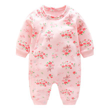 Baby Pink Flower Rompers Sport Clothes For Girls Kids Jumpsuit Newborn Baby Long Sleeve Romper Toddler Pajamas Infant Clothing(China)