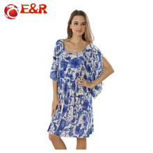 2016 Retail New Spring And Summer Plus Size Holiday Bikini Outside Smock Blue and white ice Silks beach dress retro print dress