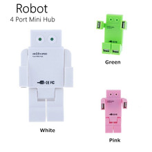New Robot Mini High Speed HUB With 4 USB Ports 3 Colors Led eyes For Notebook Computer(China)