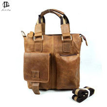 New Retro Oil Wax Genuine Leather Men Handbag One Shoulder Bags Business Phone Messenger Tote Bag Ipad Briefcase