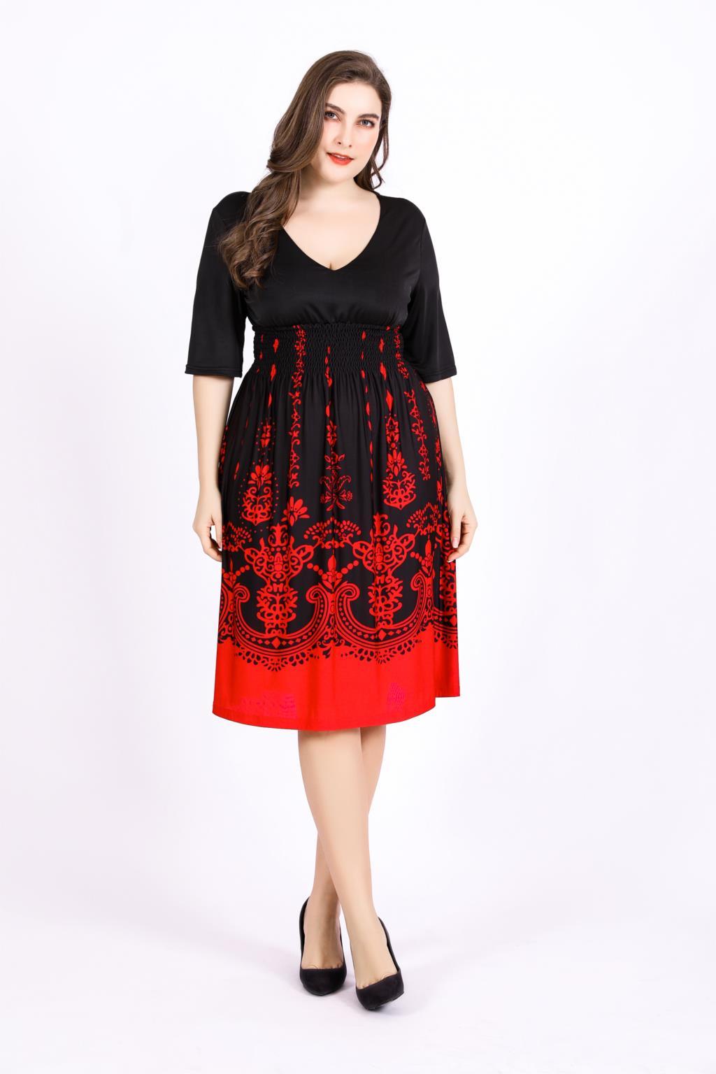Women Dresses Plus Size 5xl 6xl Summer Ladies V Neck Half Sleeve High Waist  Casual Midi Dress Floral Print Tunic Party Dresses bca1b908376c