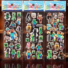 Hot New 60pcs/set Minecraft Stickers Mixed Cartoon Bubble Action Figures Kid  MineCraft Assembles Toy Christmas Gifts