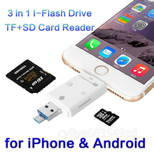 3 in 1 iFlash Drive HD USB 3.0 Micro SD SDHC TF OTG Card Reader for iPhone 5s 6 6s plus ipad ios Device for All Android Cellphon