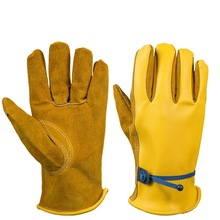 OZERO Work Gloves Safety Garden Gloves Leather Welding Protective Gloves For Glass Handling, Shop Floor Operations