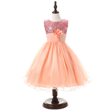 New Toddler Girls Birthday Clothes Sparkle Sequin Teenagers Prom Party Dress Flower Princess Tulle Tutu Formal Dress For Girls