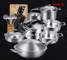 Food Grade High Quality 18/10 Stainless Steel Germany Technical 3 Style Cookware Set European Simple Design Kitchen Utensil(China)