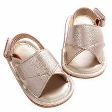 2016 Hot Soft Sole Kid Birthday First Walkers Toddler Baby Boy Shoes,Gold PU Leather Photography Props Summer Sapato Bebe Menino(China)