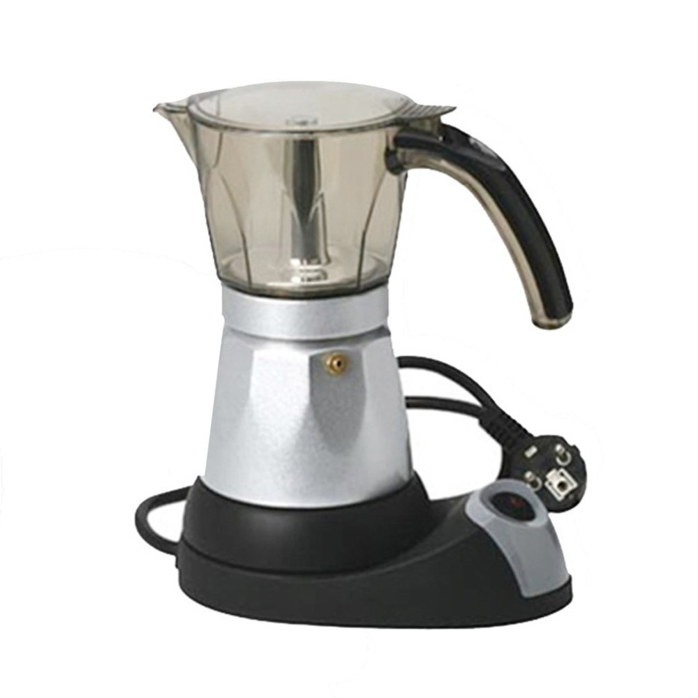 Fully-automatic 3 to 6 Cup Electric Moka Coffee Pot Percolators Tool Filter Cartridge Aluminium Alloy Electrical Espresso Maker<br>