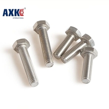 2017 New Real Fastener Round Axk 100pcs Din933 M3 3mm 304 Stainless Steel Hex Bolt M3*4/5/6/8/10/12/1/16/18/20/25/30/35/40mm(China)