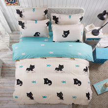 XINLANISNOW 2017 New Animal Duvet Cover Set Polyester Fiber Bed Sheet Sets Sets black cat Queen Full Twin Size 3/4pcs Bedclothes