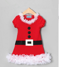 2015 new arrival autumn fashion baby girls Xmas dress pure cotton short sleeve children christmas dresses