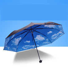 Blur Sky Umbrella Rain Women 3-Fold UV Block Protection Travel Compact Lightweight Umbrella Blue Sky & White Cloud Umbrella HI18
