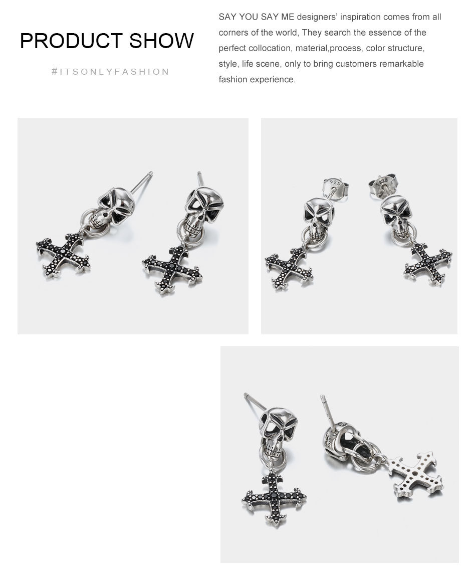Say-You-Say-Me-925-Sterling-Skull-Earrings-Wholesale-Fashion-Black-Zircon-Cross-Earrings-Unisex-Best-T11