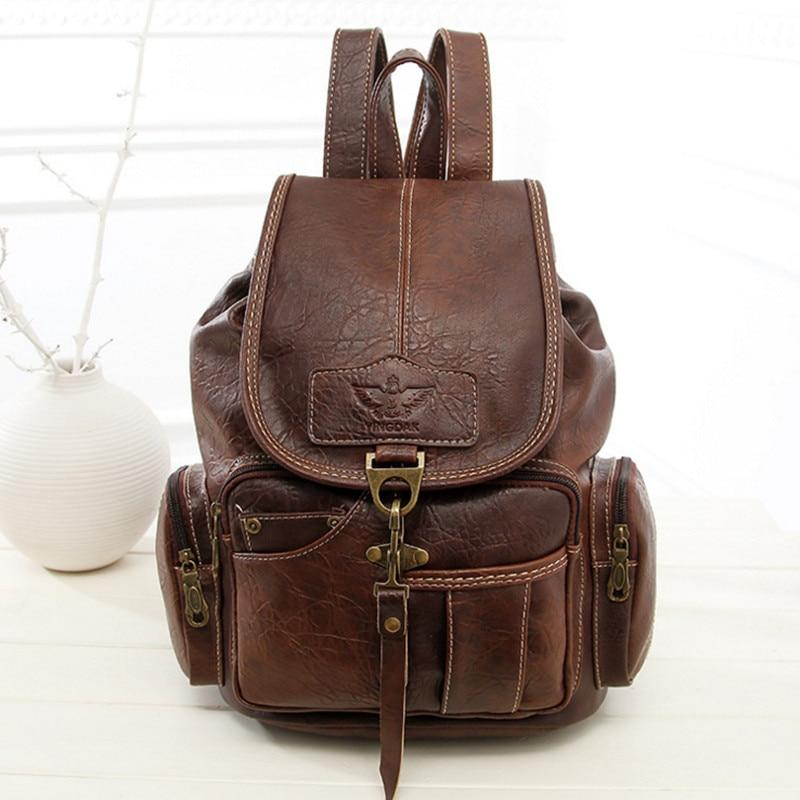 Women Backpack Vintage PU Soft Leather School Backpacks Student Schoolbag Female Brand Back Pack Rivet backpack mochila  Backbag<br>