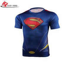 short sleeve superman 3 D Printed T-shirts Men Sale Marvel Super Hero Avenger Batman T Shirt men Base Layer Thermal 4 XL(China)
