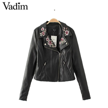 Women flower embroridery PU leather jackets coat with lining long sleeve pockets jacket ladies fashion streetwear tops CT1440