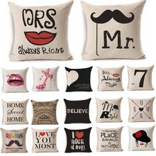 Buy 1Pcs 45*45cm Women Men Mr Mrs Love Lip Pattern Cotton Linen Throw Pillow Cushion Cover Car Home Sofa Decorative Pillowcase 40246 for $1.99 in AliExpress store
