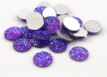 New Fashion 40pcs 12mm Purple ab Color Flat Back Resin Flower Cabochons Cameo  G7-37